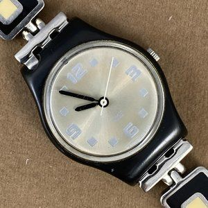 Rare Modern Swatch Watch Black and White Enamel